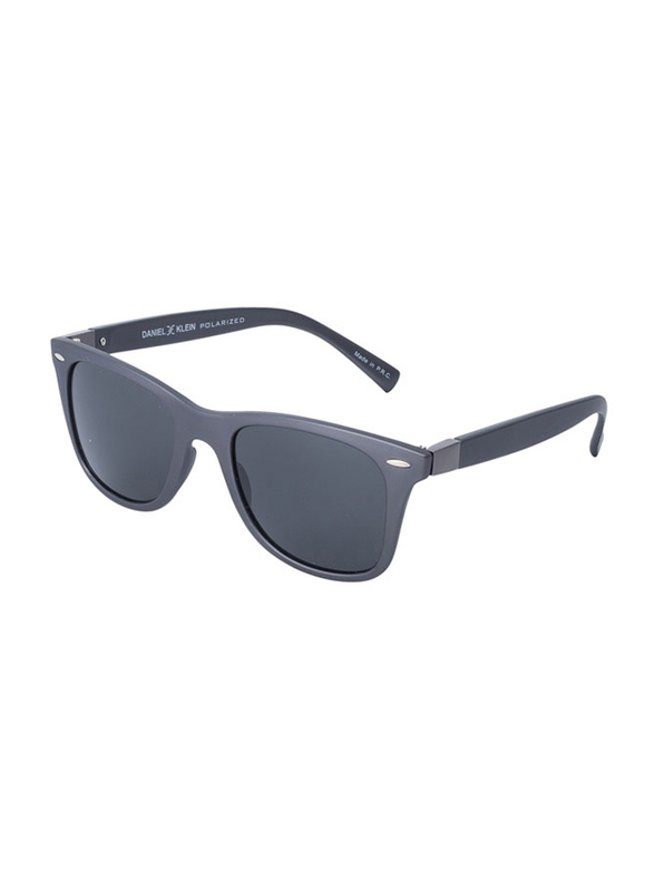Daniel Klein Polarized Wayfarer Full-Rim Grey Frame Sunglasses for Men, Grey Lens, DK3030C, 50/12/140