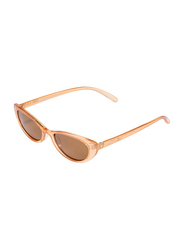 Daniel Klein Polarized Cat Eye Full Rim Orange Frame Sunglasses for Women, Brown Lens, DK4272C, 50/16/140