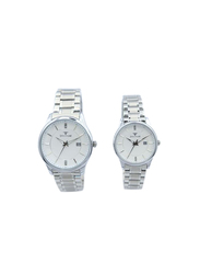Spectrum Inventor Analog Unisex Couple Watches, with Stainless Steel Band, 25150L-P, Silver
