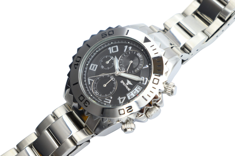 Spectrum Explorer Analog Watch for Men, with Stainless Steel Band and Chronograph, S92988M-4, Silver-Black