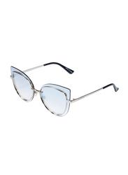 Daniel Klein Polarized Cat Eye Full Rim Silver Frame Sunglasses for Women, Blue Lens, DK4257PC, 50/17/150