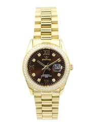 Spectrum Challenger Analog Watch for Women, with Stainless Steel Band, S25165L-10, Gold-Brown