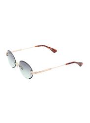 Daniel Klein Round Rimless Gold Frame Sunglasses Women, Verde Green Lens, DK4270PC, 50/17/140