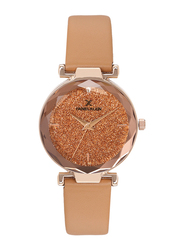 Daniel Klein Analog Watch for Women, with Leather Band and Water Resistant, DK12056-2, Beige-Orange