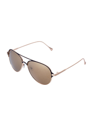 Daniel Klein Polarized Aviator Full Rim Rose Gold Frame Sunglasses for Women, Brown Lens, DK4219C, 53/9/135