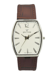 Spectrum Analog Watch for Men, with Leather Band, S12474M-3, Brown-White