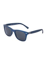 Daniel Klein Polarized Wayfarer Full-Rim Blue Frame Sunglasses for Men, Grey Lens, DK3030C, 50/12/140