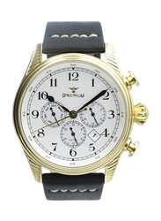 Spectrum Creative Analog Watch for Men, with Leather Band and Chronograph, S23031M-1, Black-White