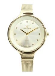 Spectrum Creative Analog Watch for Women, with Mesh Band, S11103L-1, Gold