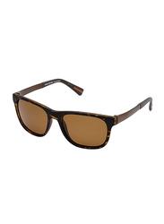 Daniel Klein Polarized Wayfarer Full-Rim Brown Frame Sunglasses for Men, Brown Lens, DK3118C, 55/15/140