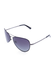 Daniel Klein Polarized Aviator Full-Rim Grey Frame Sunglasses for Men, Blue Lens, DK3164C, 60/20/130