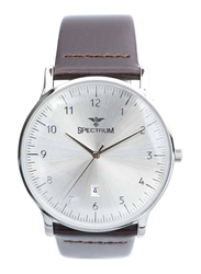 Spectrum Truth Seeker Analog Watch for Men, with Leather Band, S23073M-3, Dark Brown-Silver