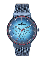Daniel Klein Analog Watch for Men, with Stainless Steel Band, Water Resistant and Chronograph, DK12132-5, Blue
