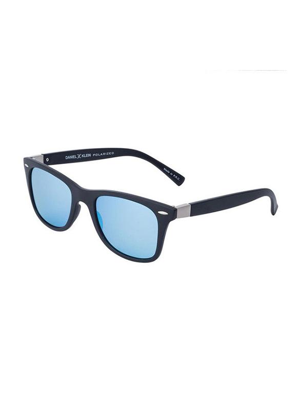 Daniel Klein Polarized Wayfarer Full-Rim Blue Frame Sunglasses for Men, Blue Lens, DK3030C, 50/12/140