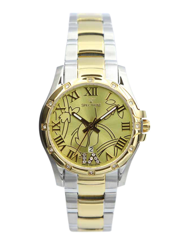 Spectrum Creative Analog Watch for Women, with Stainless Steel Band, S12554L-2, Gold-Black
