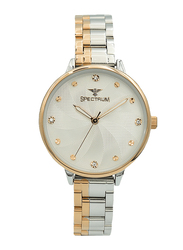 Spectrum Analog Watch for Women, with Stainless Steel Band, S25185L-4, Silver/Rose Gold-White