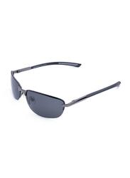 Daniel Klein Polarized Sport Half-Rim Grey Frame Sunglasses for Men, Grey Lens, DK3152C, 58/16/130