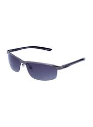 Daniel Klein Polarized Sport Half-Rim Black Frame Sunglasses for Men, Blue Lens, DK3073C, 68/18/130