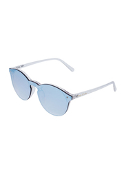 Daniel Klein Trendy Round Full-Rim Transparent Frame Sunglasses for Women, Mirrored Blue Lens, DK4179PC, 56/14/140