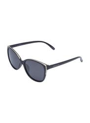 Daniel Klein Polarized Cat Eye Full Rim Black Frame Sunglasses for Women, Black Lens, DK4284C