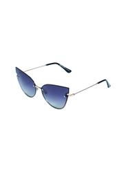 Daniel Klein Polarized Cat Eye Full Rim Silver Frame Sunglasses for Women, Coffee Lens, DK4260C, 55/20/140