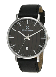 Daniel Klein Analog Watch for Men, with Leather Band and Water Resistant, DK12104, Black
