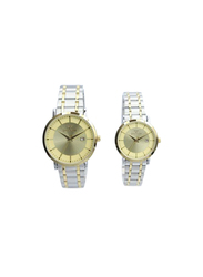 Spectrum Inventor Analog Unisex Couple Watches, with Stainless Steel Band, 25140L, Silver/Gold-Gold