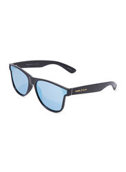 Daniel Klein Polarized Wayfarer Full-Rim Black Frame Sunglasses for Men, Blue Lens, DK3167C, 50/16/140