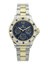 Spectrum Analog Watch for Women, with Stainless Steel Band and Chronograph, S25184L-3, Silver/Gold-Blue