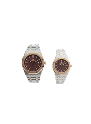 Spectrum Challenger Analog Unisex Couple Watches, with Stainless Steel Band, 12566M, Silver/Rose Gold-Brown