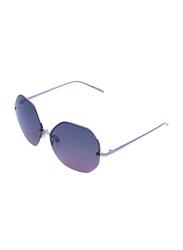 Daniel Klein Polarized Hexagonal Half Rim Purple Frame Sunglasses for Women, Purple Lens, DK4203C, 50/12/140