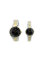 Spectrum Multidimensional Analog Unisex Couple Watches, with Stainless Steel Band, 12579L-P, Silver/Gold-Black