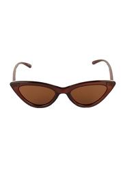 Daniel Klein Polarized Cat Eye Full Rim Brown Frame Sunglasses for Women, Brown Lens, DK4274C, 52/18/140