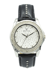 Spectrum Analog Watch for Women, with Leather Band, S12431L-2, Black-White