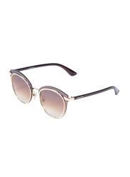 Daniel Klein Cat Eye Full Rim Golden Frame Sunglasses for Women, Brown Lens, DK4258PC, 50/15/150