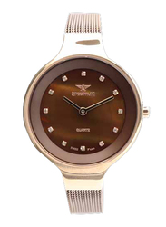 Spectrum Creative Analog Watch for Women, with Mesh Band, S11103L-8, Brown