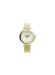 Spectrum Explorer Analog Watch for Women, with Mesh Band and Mother of Pearl Dial, S12575L, Gold-White