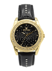 Spectrum Analog Watch for Women, with Leather Band, S12431L-1, Black-Black/Gold