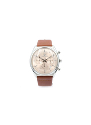 Spectrum Creative Analog Watch for Men, with Leather Band and Chronograph, S23069M, Brown-Rose Gold