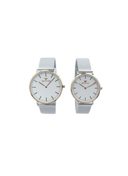 Spectrum Inventor Analog Unisex Couple Watches, with Mesh Band, 25149L, Silver