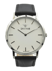 Spectrum Analog Watch for Men, with Leather Band, S12440M-3, Black-White