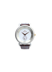 Spectrum Creative Analog Watch for Men, with Leather Band, S12444M, Brown-White
