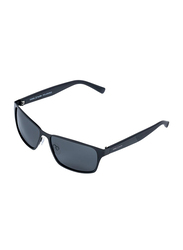 Daniel Klein Polarized Sport Full-Rim Black Frame Sunglasses for Men, Grey Lens, DK3187C, 60/20/140
