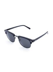 Daniel Klein Polarized Clubmaster Full-Rim Black Frame Sunglasses for Men, Black Lens, DK3129C, 50/20/140
