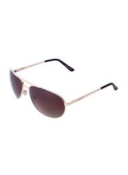 Daniel Klein Polarized Aviator Full-Rim Rose Gold Frame Sunglasses for Men, Brown Lens, DK3149C, 60/17/125
