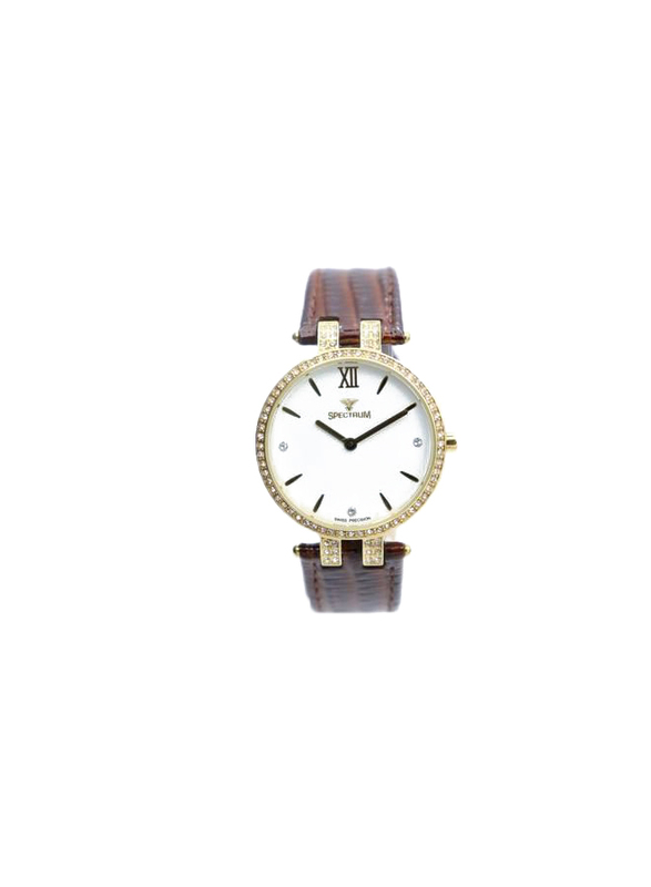Spectrum Creative Analog Watch for Women, with Leather Band, 12504L, Brown-White