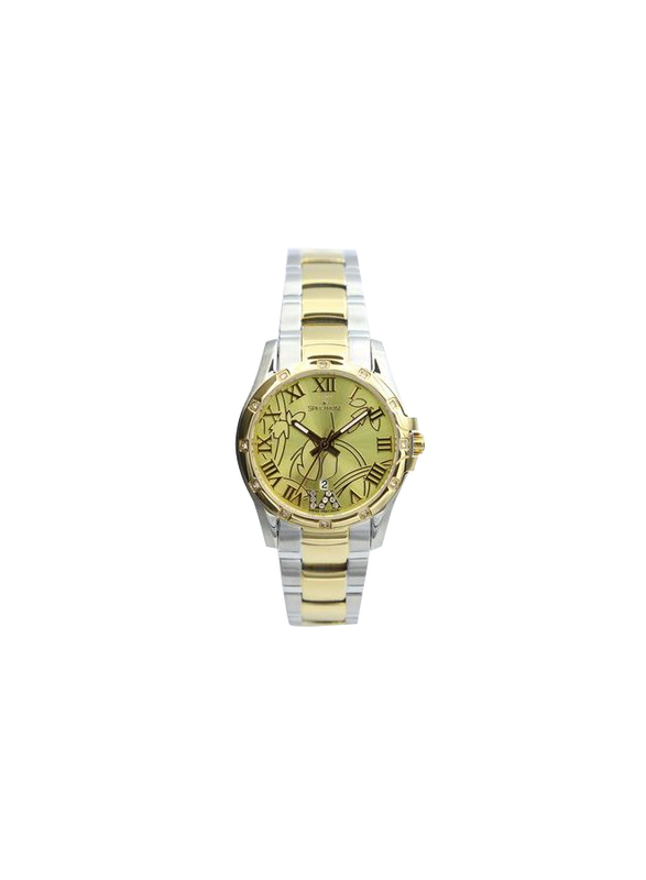 Spectrum Explorer Analog Watch for Women, with Stainless Steel Band, S12554L, Silver/Gold-Gold