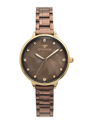 Spectrum Analog Watch for Women, with Stainless Steel Band, S25185L-8, Coffee Brown
