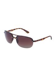 Daniel Klein Polarized Aviator Half-Rim Animal Print Frame Sunglasses for Men, Brown Lens, DK3165C, 60/15/130