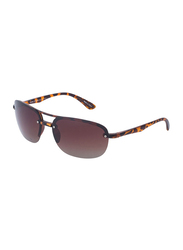 Daniel Klein Polarized Aviator Half-Rim Animal Print Frame Sunglasses for Men, Brown Lens, DK3165C, 60/15/130